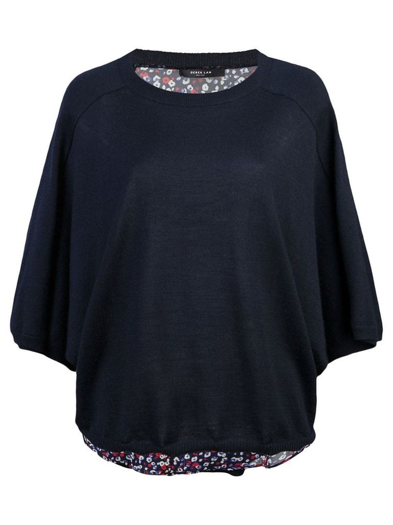 Derek Lam Cropped Batwing Silk Cashmere and Poppy Print Sweater - Blue