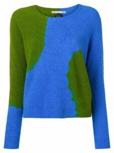Suzusan cashmere two-tone sweater - Blue