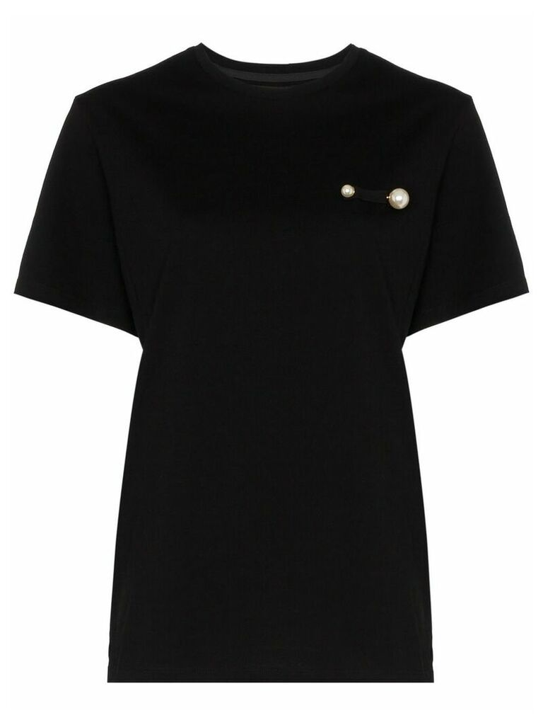 Blindness black pearl detail cotton T-shirt