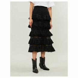 Zimmermann Black Floral Juniper Cotton Pintuck Skirt