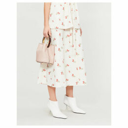 Flower-print crepe skirt