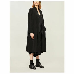 Relaxed-fit tie-up woven coat