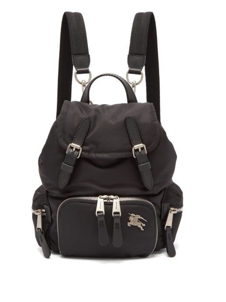 Burberry - Small Logo Plaque Backpack - Womens - Black