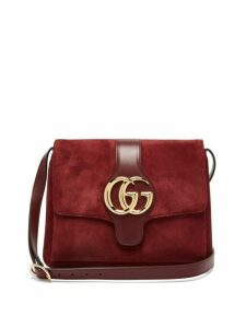 Gucci - Arli Gg Suede And Leather Cross Body Bag - Womens - Burgundy