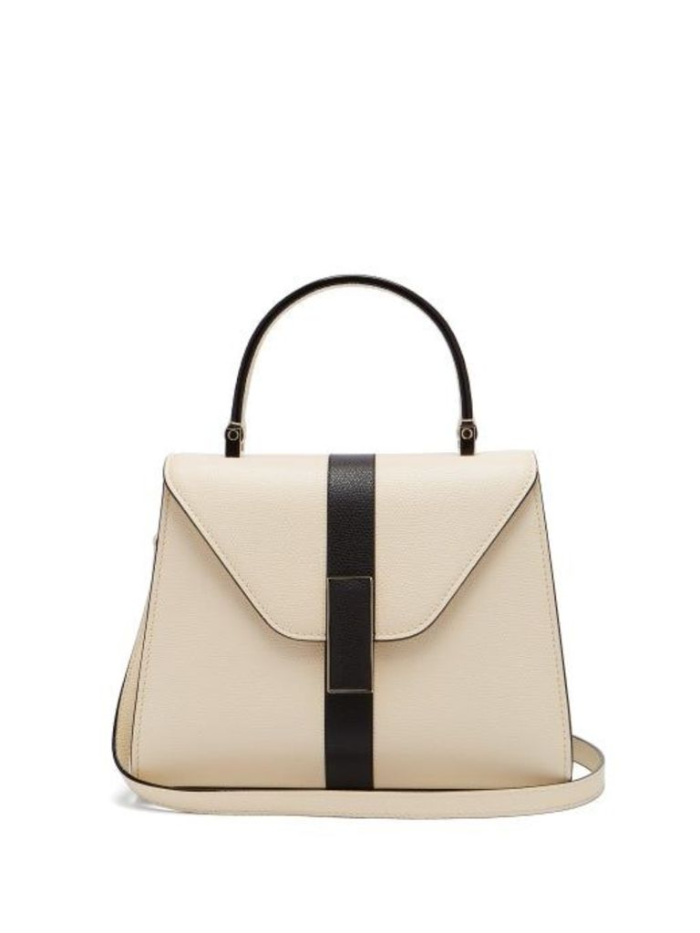 Valextra - Iside Mini Grained Leather Bag - Womens - White Black