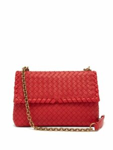 Bottega Veneta - Olimpia Small Intrecciato Shoulder Bag - Womens - Red