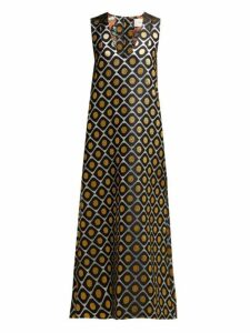 La Doublej - Pomodorini Oro Brocade Midi Dress - Womens - Black Gold