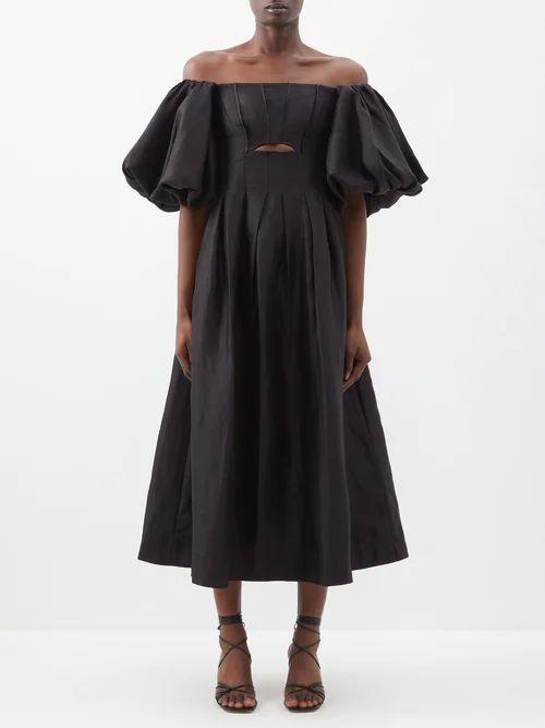 Loup Charmant - Ruffle Trim Cotton Midi Skirt - Womens - Light Yellow