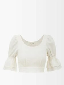Gül Hürgel - Floral Print Tie Waist Linen Dress - Womens - Yellow Print