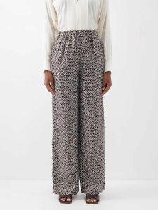 Gül Hürgel - Floral And Stripe Print Linen Midi Dress - Womens - White Print