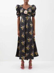 Gül Hürgel - Floral Print Ruffle Linen Midi Dress - Womens - White Print