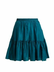 Loup Charmant - Pomona Ruffle Hem Silk Skirt - Womens - Dark Green