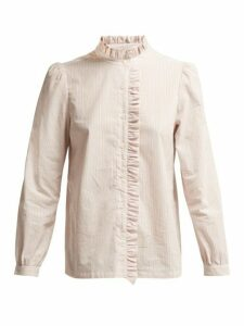 A.p.c. - Ruffle Detailed Striped Cotton Blouse - Womens - Pink Multi