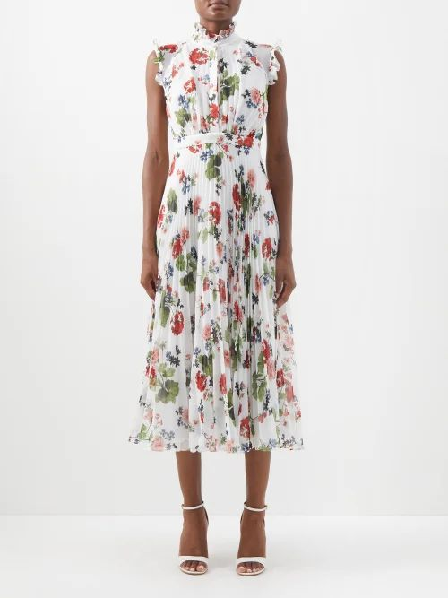 Marni - Houndstooth Print Silk Lined Coat - Womens - Brown Multi