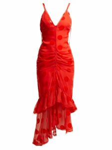 Maria Lucia Hohan - Skylar Ruffled Polka Dot Tulle Mid Dress - Womens - Red