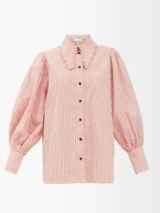 Etro - Ruffled Floral Print Silk Skirt - Womens - Black Multi