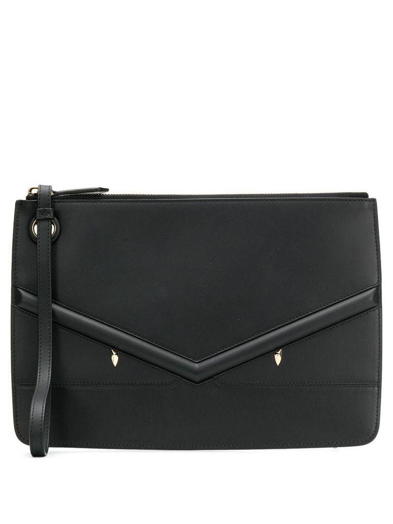 Fendi zipped appliqué clutch bag - Black