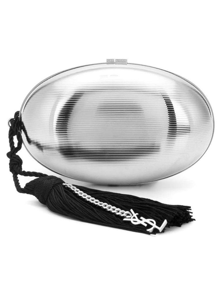 Saint Laurent oval logo clutch bag - Silver
