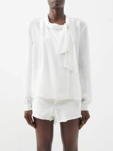Chloé - Tennis Pinstriped Wool Midi Skirt - Womens - Navy Stripe