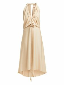 Chloé - V Neckline Gathered Satin Midi Dress - Womens - Light Brown