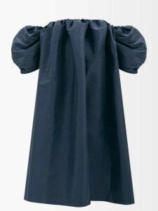 Gucci - Intrigue Floral Print Silk Twill Midi Dress - Womens - Black Multi