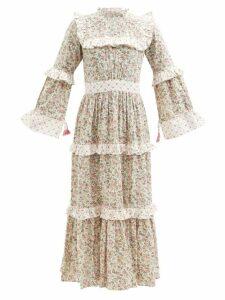 No. 21 - Palm Print Silk Mini Dress - Womens - Black Multi