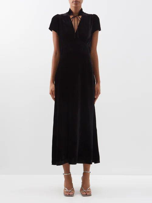 Dolce & Gabbana - Floral Print Tiered Cotton Blend Dress - Womens - Black Multi