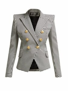 Balmain - Double Breasted Houndstooth Cotton Blend Blazer - Womens - Black White