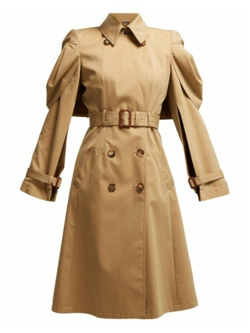 Alexander Mcqueen - Shell Sleeve Cotton Gabardine Trench Coat - Womens - Beige