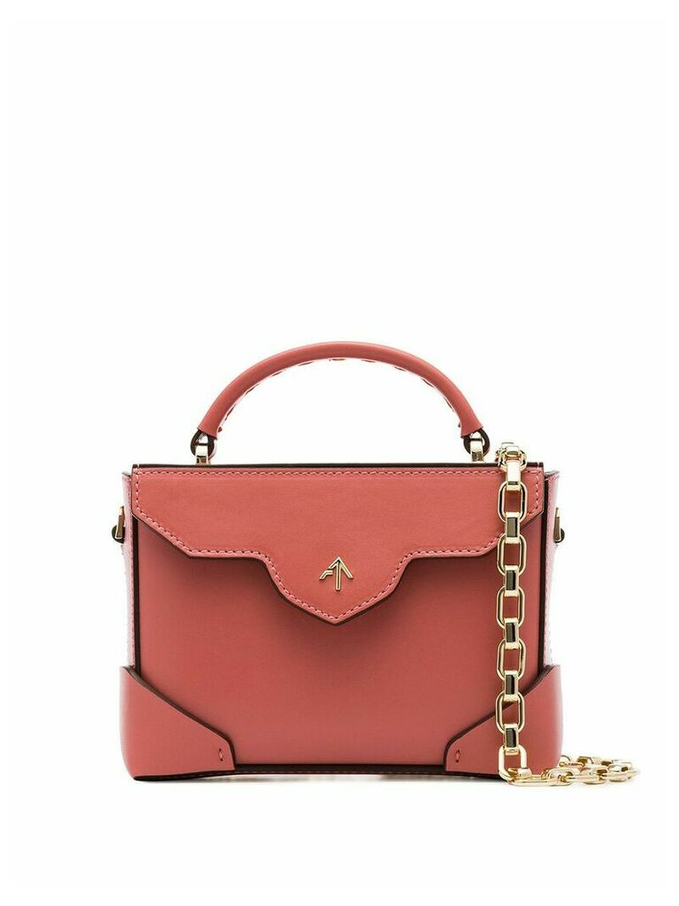 Manu Atelier salmon pink Micro Bold leather box bag