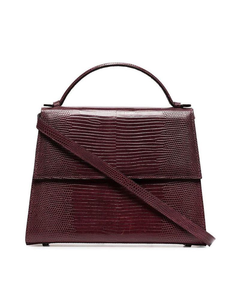 Hunting Season burgundy Top Handle large lizard skin shoulder bag -