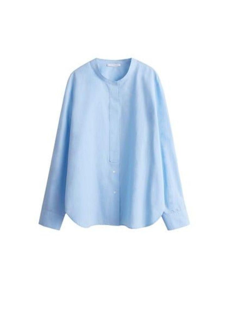 Mao collar cotton shirt