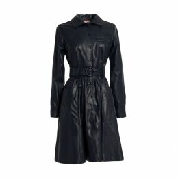 Tomcsanyi - Ganz Midnight Blue Vegan Leather Shirt Dress