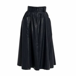 Tomcsanyi - Hunslet Midnight Blue Vegan Leather Midi Skirt
