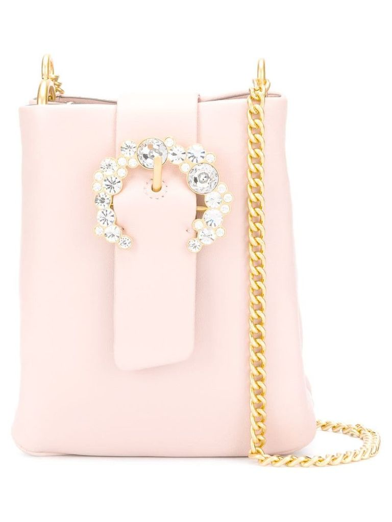 Tory Burch embellished buckle crossbody bag - Pink