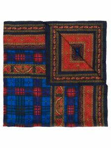 Yves Saint Laurent Pre-Owned checked paisley scarf - Blue