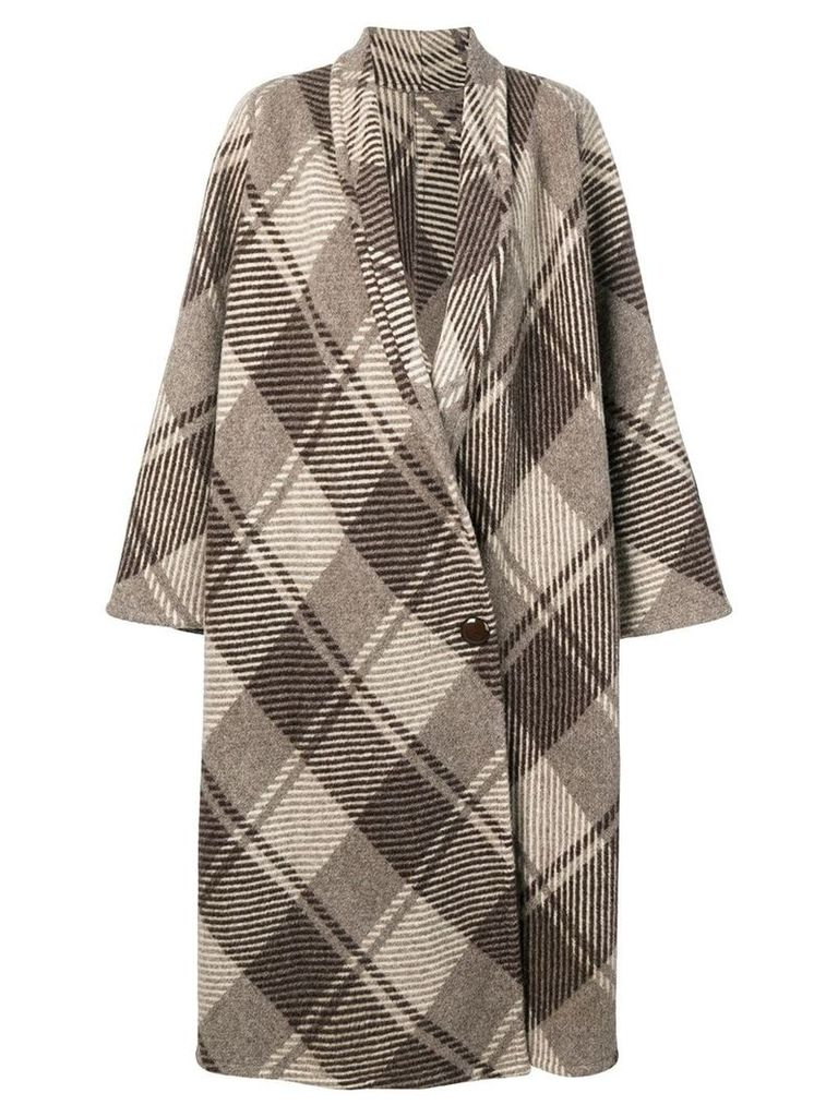 A.N.G.E.L.O. Vintage Cult 1970's checked loose coat - Brown