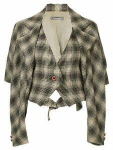 Issey Miyake Pre-Owned houndstooth loose jacket - Brown