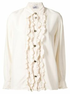 Versace Pre-Owned frill front silk blouse - White
