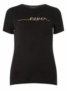 Womens Black Never Motif T-Shirt- Black, Black