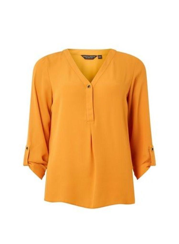 Womens Orange Button Roll Sleeve Shirt- Orange, Orange
