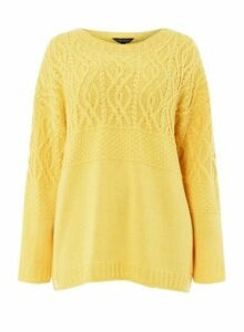 Womens **Dp Curve Yellow 'Maggie' Cable Jumper- Orange, Orange