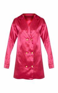 Fuchsia Satin Button Blazer Dress, Pink
