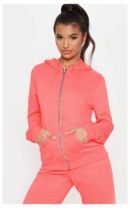 Pink Basic Gym Sweat Zip Hoodie, Pink