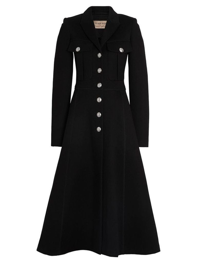 Burberry Bonded Cotton Blend Jersey Tailored Coat - Black