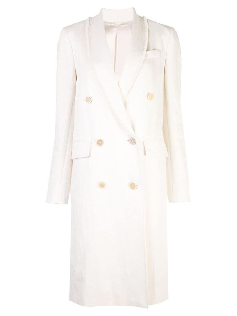 Brunello Cucinelli double-breasted fitted coat - White