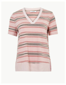 M&S Collection Striped V-Neck Regular Fit T-Shirt