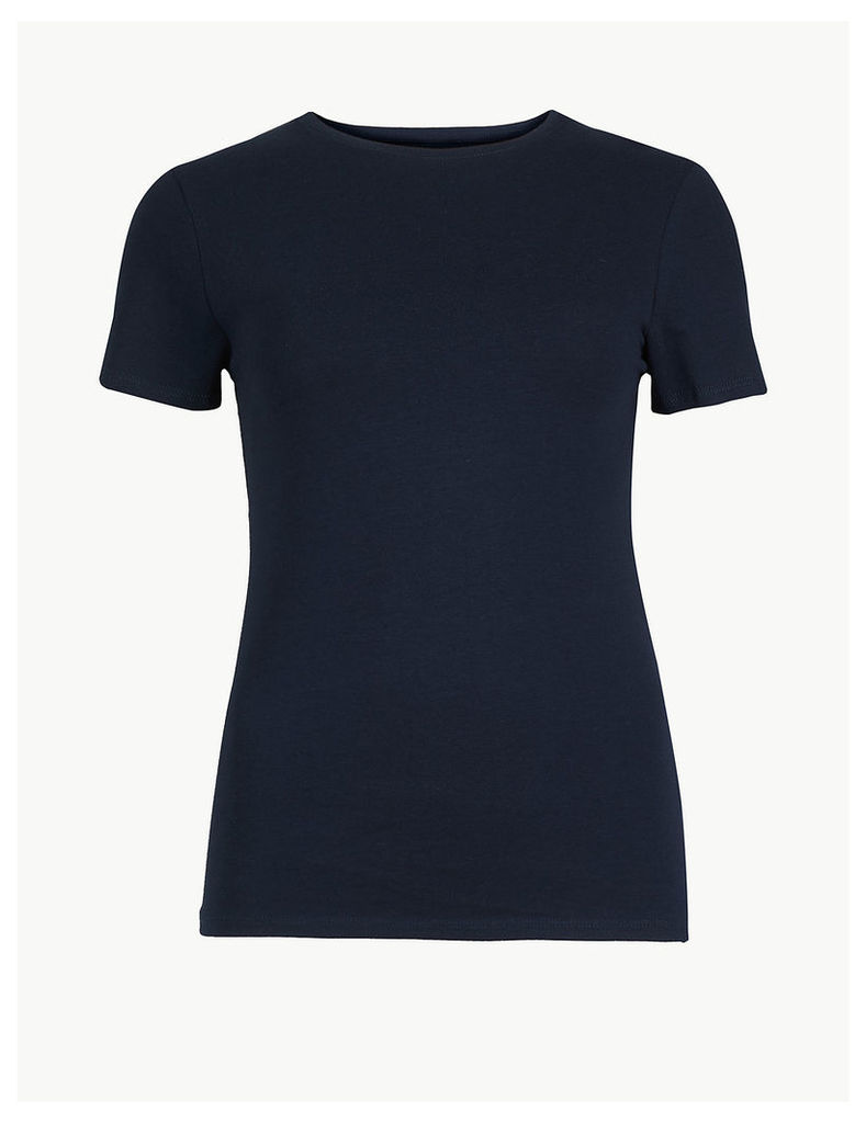 M&S Collection Cotton Rich Round Neck Fitted T-Shirt