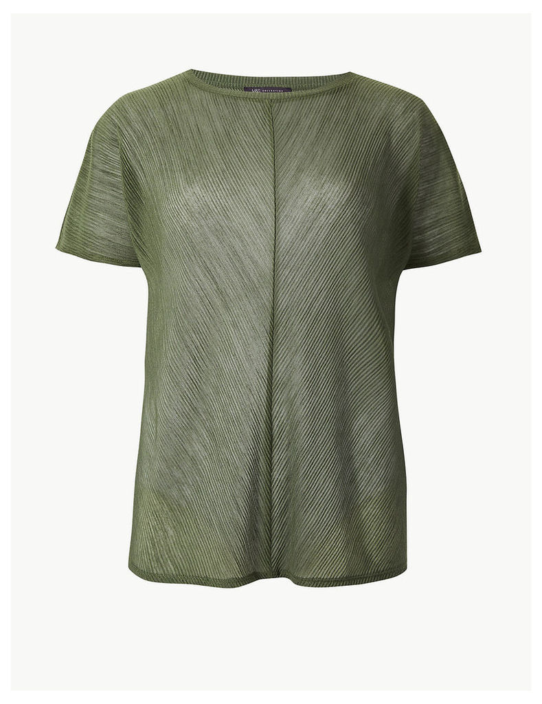 M&S Collection Sheer Round Neck Short Sleeve T-Shirt