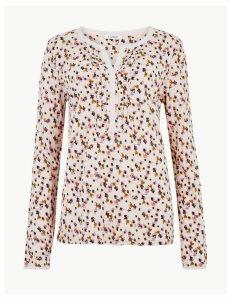 M&S Collection Floral Print V-Neck Regular Fit Blouse